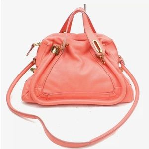 Pre-loved authentic Chloe handbag Hot pink Leather